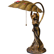 Marvelous Art Nouveau Sweet Lady Desk Lamp w/ Brass Jeweled Shell Shade