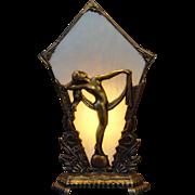 Dramatic Art Deco Nude Silhouette Radio Slag Glass Lamp