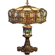 Huge Empire Highly Ornate 18 Panel Slag Glass Lighted Base Lamp