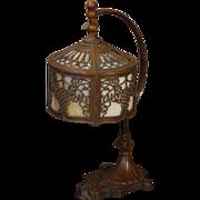 Fabulous Art Nouveau Double Slag Glass Drum Shade Desk Lamp