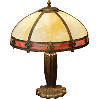 Large Handsome Gothic Double Slag Glass Lamp