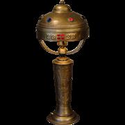 Rare Jugendstil Art Nouveau Jeweled Brass & Copper Lamp