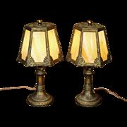 Large Lovely Pair of Art Nouveau Slag Glass Boudoir Lamps