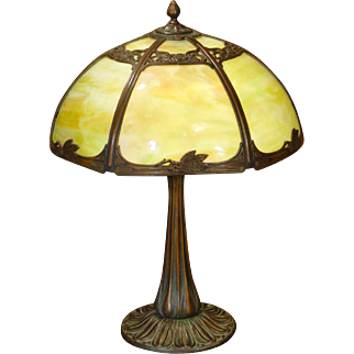 Gorgeous, Beautifully Cast Art Nouveau Slag Glass Lamp
