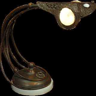 Rare Jugendstil Art Nouveau Copper & Brass Jeweled Desk Lamp