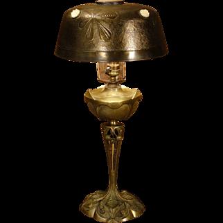 Tall Fabulous G. Leleu Salon French Bronze Art Nouveau Jeweled Lamp