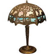 Lovely Scenic Double Panel Slag Glass Lamp
