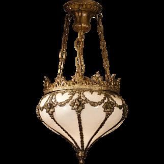 Gorgeous Ornate Turnip Opaline Glass Hanging Lamp