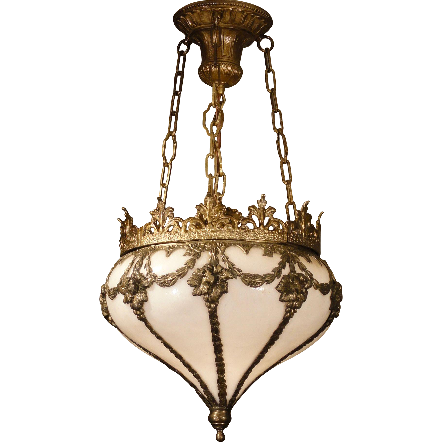 Gorgeous Ornate Turnip Opaline Glass Hanging Lamp