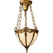 Lovely Bradley & Hubbard Brass Hall Lamp w/ Etched Opaline Glass
