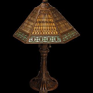 Large Ornate Gothic Art Nouveau Double Slag Glass Panel Lamp