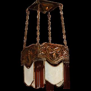 Sweet Jugendstil Copper Art Nouveau Fairy Hanging Lamp w/ Opaline Glass Panels