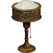 Lovely Small Ornate Slag Glass Drum Lamp w/ Domed Shade