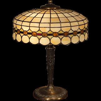 Elegant Unique/ Lamb Brothers Leaded Slag Glass Lamp
