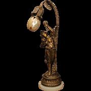 Lovely Art Nouveau Dancing Girl Lamp w/ Marmoratus Shell Petal Shade
