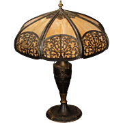 Large Ornate Empire Mushroom Shade Slag Glass Lamp