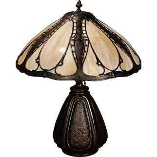 Large Regal Empire Medieval Arts & Crafts Slag Glass Panel Lamp w/ Pod Base