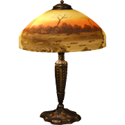Warm Pittsburgh Reverse Painted Etched Scenic Lamp