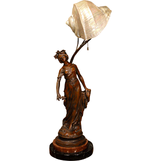 Large Art Nouveau Star Lady Art Lamp w/ Marmortus Shell Shade