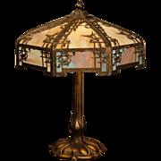Large Stunning Empire Bird & Trellis Double Panel Slag Glass Lamp