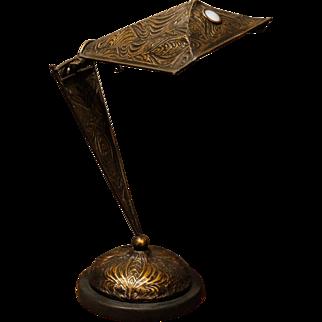 Awesome Adjustable Jugendstil Art Nouveau Copper Jeweled Desk/Piano Lamp