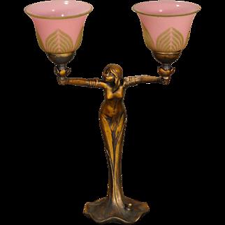 Fantastic Art Nouveau Plant Nymph Figural w/ Raised Beaded Shades