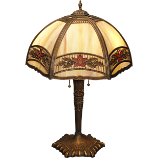 Lovely Floral Obverse Painted Slag Glass Panel Lamp