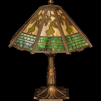 Large Organic Arts & Crafts Plant & Brickwork Double Slag Glass Obverse Painted Lamp