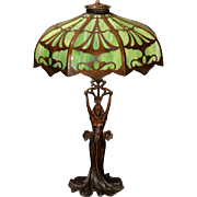 Stunning Art Nouveau Figural Lamp w/ Cut Brass Slag Glass Shade