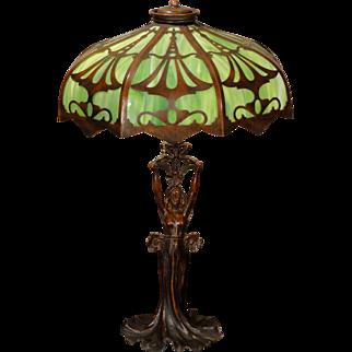 Stunning Art Nouveau Figural Lamp w/ Cut Brass Slag Glass Shade