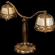 Large Miller Slag Glass Partners Desk Lamp