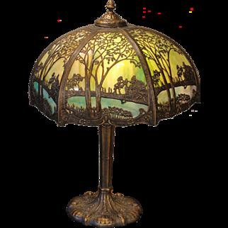 Gorgeous Large Double Panel Slag Glass Scenic Lamp