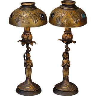 Pair Art Nouveau Lady Mantle/ Credenza Lamps w/ Jeweled Shades