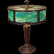 Large Unusual Round Slag Glass Panel Lamp
