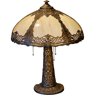 Large Ornate Art Nouveau 3 Socket Slag Glass Lamp
