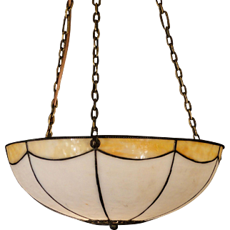 Lovely Leaded Double Panel Slag Glass Hanging Lamp