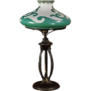 Art Nouveau Desk Lamp w/ Fire Painted Shade