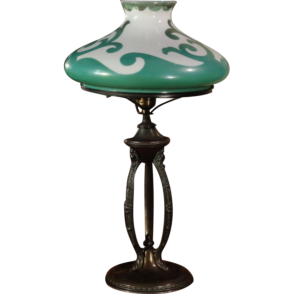 Art Nouveau Desk Lamp w/ Fired on Painted Shade