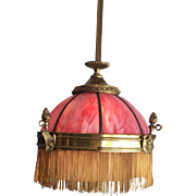 Fantastic 1890s pink slag glass gas electric fixture