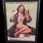 1940s Plibrico advertising piece cardboard under glass orginal frame.