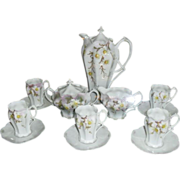 15 piece RS Prussia Chocolate Set with Sugar & Creamer early 1900's
