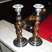 Pair of Vintage Oak Barley Twist Candlesticks