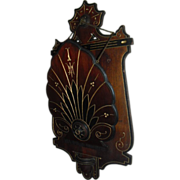 Lovely Eastlake Style Walnut Wood Wall Pocket