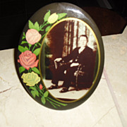 Early 1900's Celluloid Mourning Photo with Original Stand
