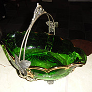 Brides Basket Northwood Bowl and Rogers Silverplate Frame
