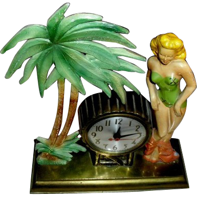 Rare 1940's Hula Girl Bathing Beauty and Palm Tree Clock ~ Metal