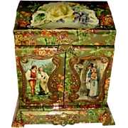 Late 1890's Large Upright Celluloid Dresser Box, Beautiful Condition