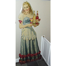 Life Size Standup Cardboard Virginia Dare Wine Advertising Sign ~ 1940's era