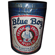 Large Blue Boy Fresh Frozen Fruits Tin 30lb.   Geo. W. Haxton & Son Oakfield, NY ~ Great Graphics