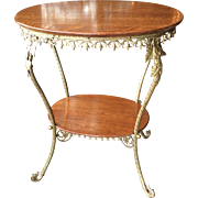 Fantastic victorian lamp table 1/4 sawn oak and brass